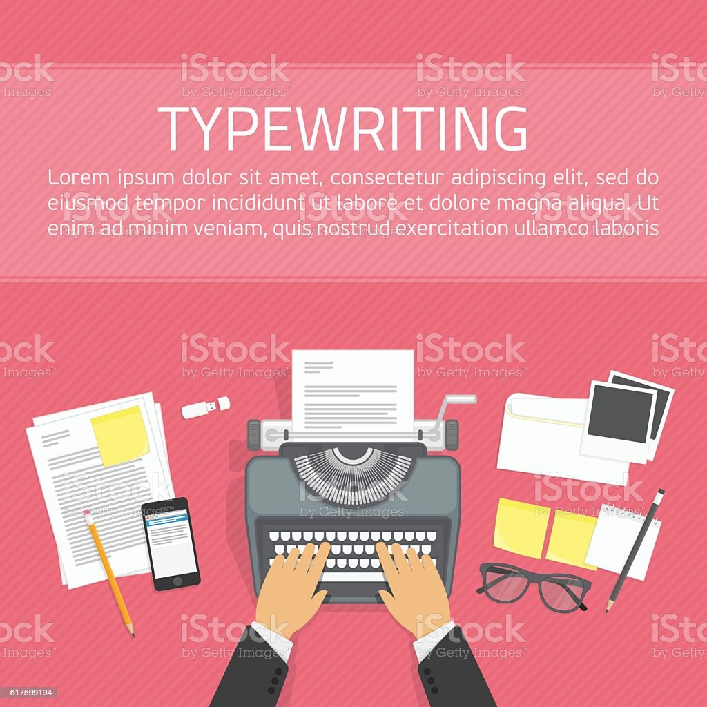 Workplace with typewriter top view. vector art illustration