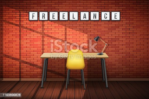 Wooden table desk with chair and Freelance tag on wall pictures. Loft Workplace Interior with brick wall. Modern design. Vector Illustration isolated on white background.