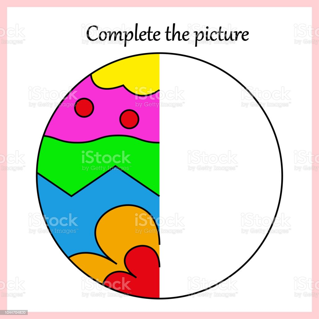 Worksheet Complete The Picture Puzzle Task Game For Kids Coloring
