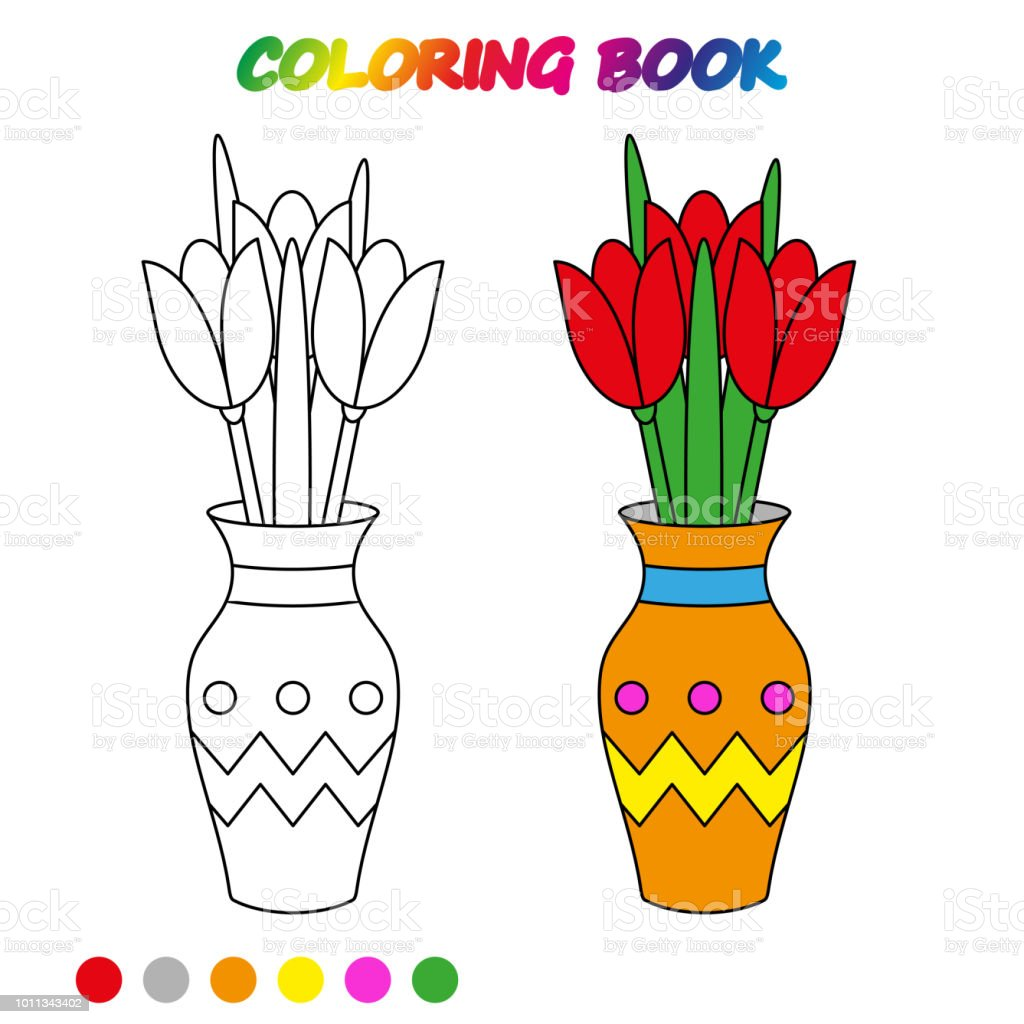 Worksheet Flowers Tulip In Vase Coloring Book Game For Kids Vector