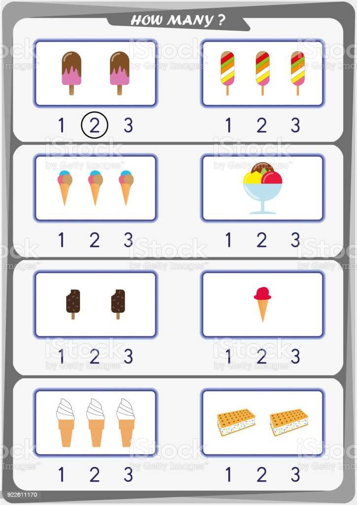 Worksheet For Kindergarten Kids Count The Number Of Objects Learn ...