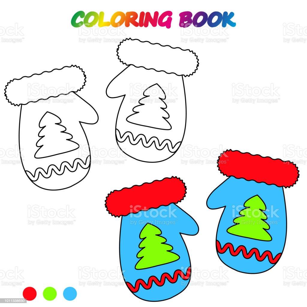 Ilustración De Hoja De Cálculo Mitones Libro Para Colorear