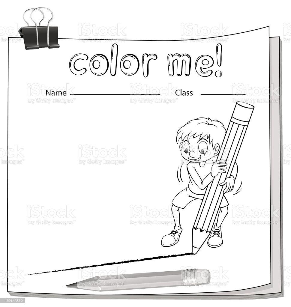 Worksheet showing a boy drawing a line vector art illustration