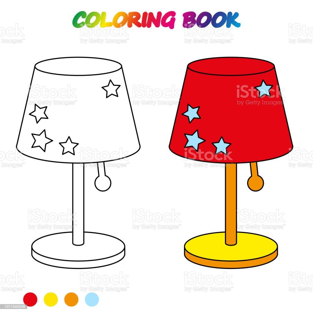 Ilustración De Hoja De Cálculo Lámpara De Mesa Libro Para Colorear
