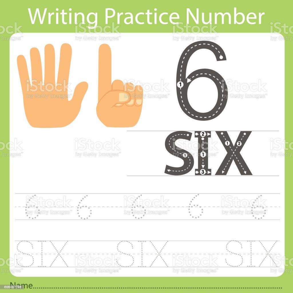 Arbeitsblatt Schreiben Praxis Nummer Sechs Stock Vektor Art und mehr ...