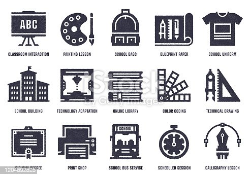 Vector icon set with stipple texture effect created by the influence of workshop drawing. High-quality graphic design illustrations for print designs, website symbols, apps, social media icons, and infographics.