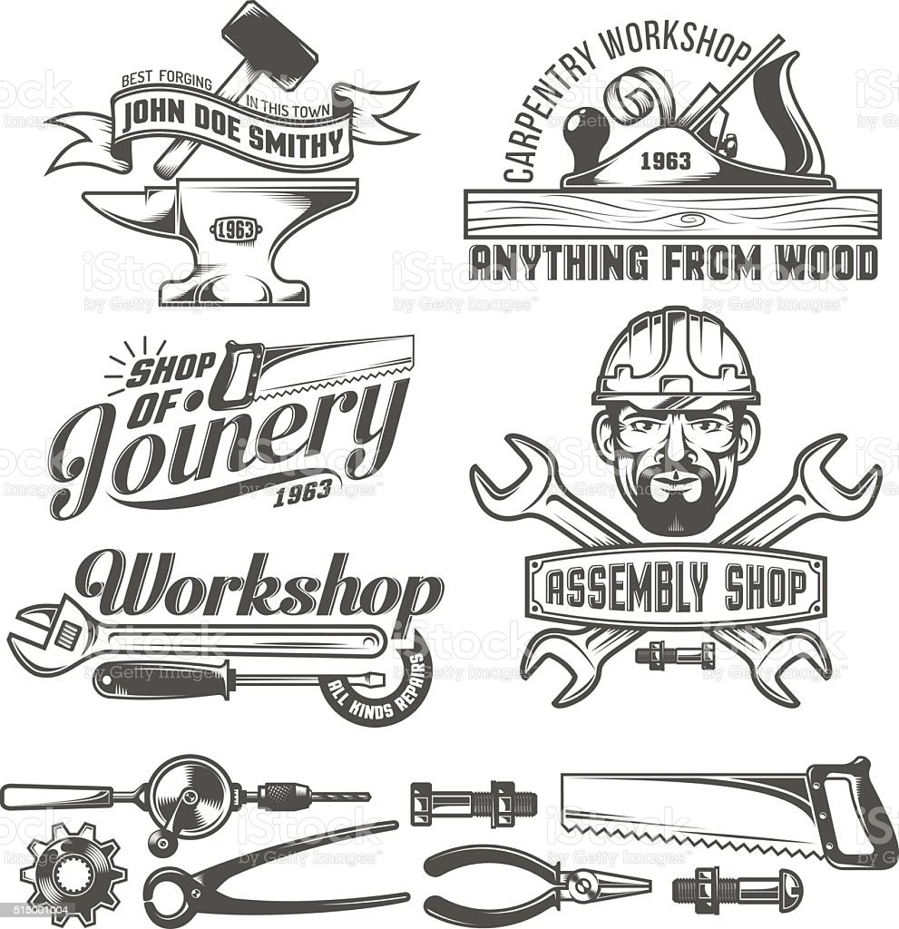 Emblema de taller - ilustración de arte vectorial