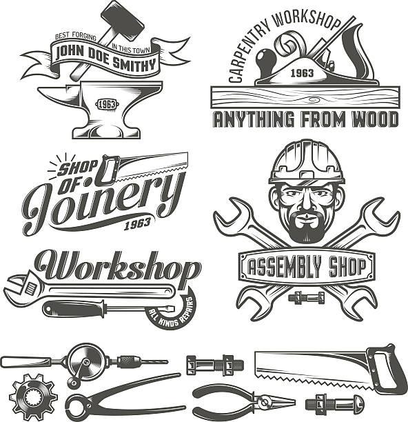 ilustrações, clipart, desenhos animados e ícones de emblema do oficina - carpinteiro
