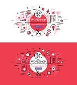 Set of modern vector illustration concepts of making workshop. Line flat design hero banners for websites and apps with call to action button, ready to use