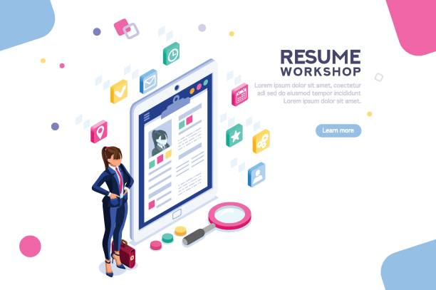 Workshop for Resume Writing Banner Web page, banner for resume resources. Employer, customer, boss recruit. Businesswoman isometric human resources, hr job presentation for occupation choose. Flat Isometric concept with characters. military recruit stock illustrations