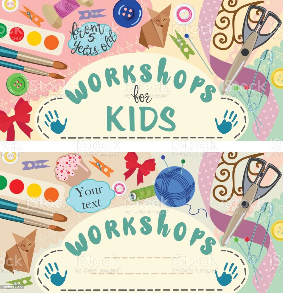 Workshop: handmade and creative process for children. Banners. Vector illustration royalty-free workshop handmade and creative process for children banners vector illustration stock vector art & more images of advertisement