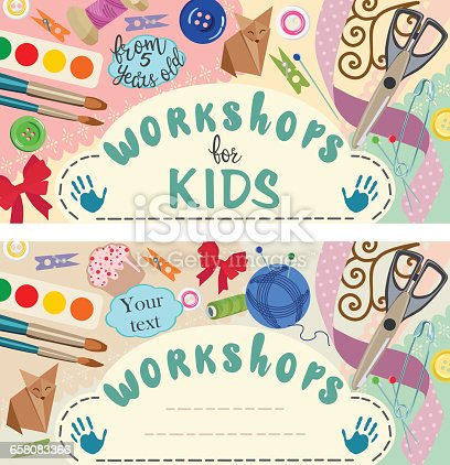 Ads lessons about creative activities. Education and enjoyment concept. Cutting paper, origami, application of paper, painting and sketching, sewing workshop for kids and adults.