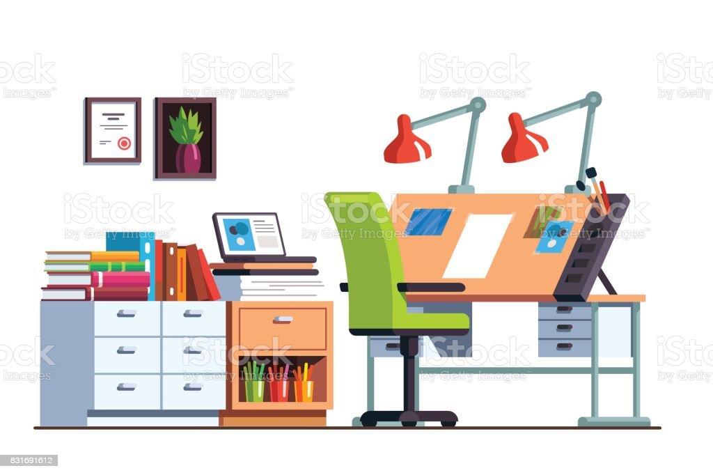 Habitaci n con escritorio de dibujo de taller o ingeniero for Habitacion dibujo