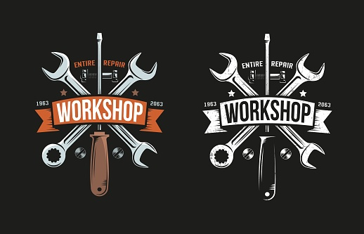 Workshop retro logo with wrench, screwdriver and heraldic ribbon