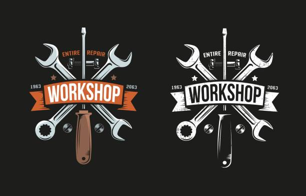 Workshop retro logo with wrench, screwdriver and heraldic ribbon Workshop retro logo with wrench, screwdriver and heraldic ribbon. Black background. Color and monochrome versions. Grunge worn texture on separate layer and easily turn off. mechanic stock illustrations