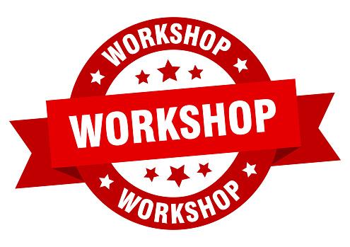 workshop ribbon. workshop round red sign. workshop
