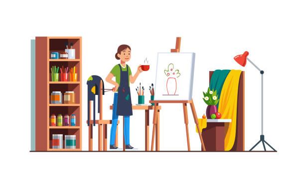 workshop-studiozimmer mit leinwand, pinsel, staffelei, farben. kunst maler künstler frau tee zu trinken und entspannen nach veredelung stillleben skizze. flache isoliert vektor - hausfarbpaletten stock-grafiken, -clipart, -cartoons und -symbole