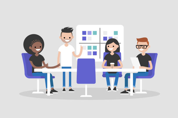 Workshop training. Modern office. Millennials at work. Discussing the strategy of the company. Business meeting. Flat editable vector illustration, clip art Workshop training. Modern office. Millennials at work. Discussing the strategy of the company. Business meeting. Flat editable vector illustration, clip art millennial generation stock illustrations