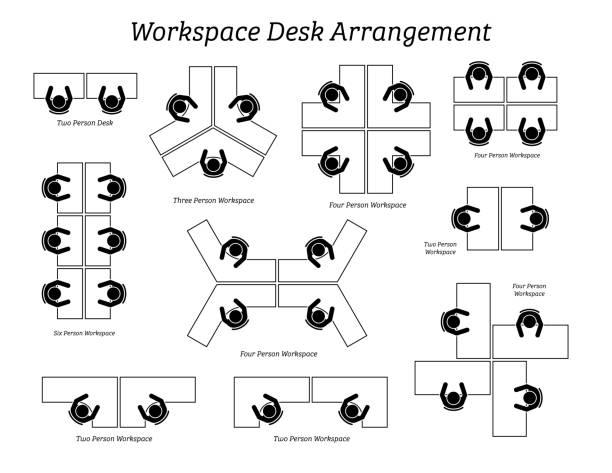 illustrazioni stock, clip art, cartoni animati e icone di tendenza di workspace desk arrangement in office and company. - near