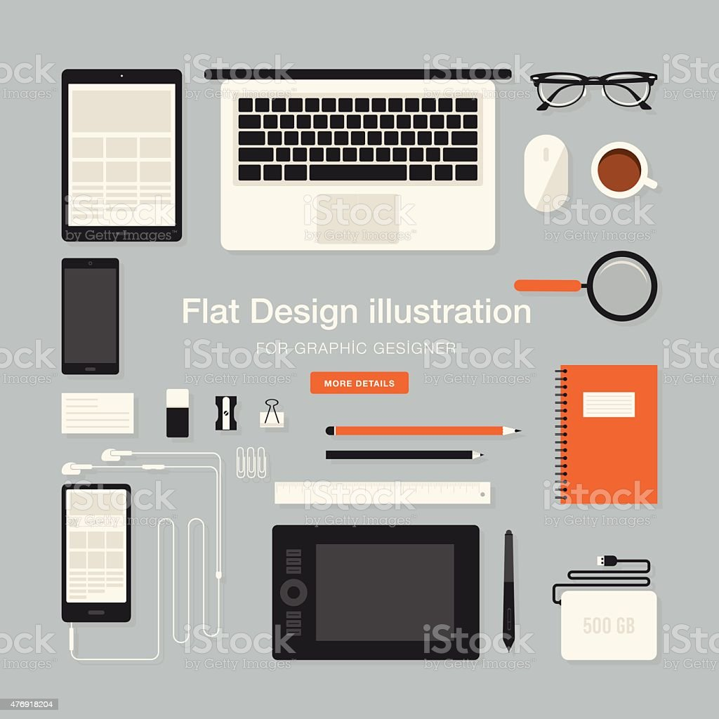 Workspace for graphic designer vector art illustration