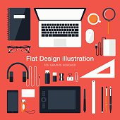 Flat Equipments For Graphic Designer
