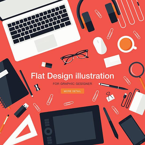 Workspace for graphic designer Flat Equipments For Graphic Designer business cards and stationery stock illustrations