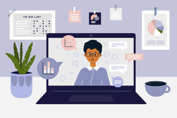 Workspace in home with laptop and working online – artystyczna grafika wektorowa