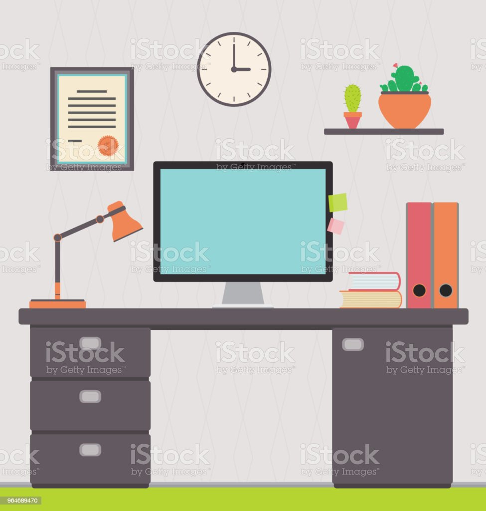 Workspace, interior, home office of a freelance worker royalty-free workspace interior home office of a freelance worker stock illustration - download image now