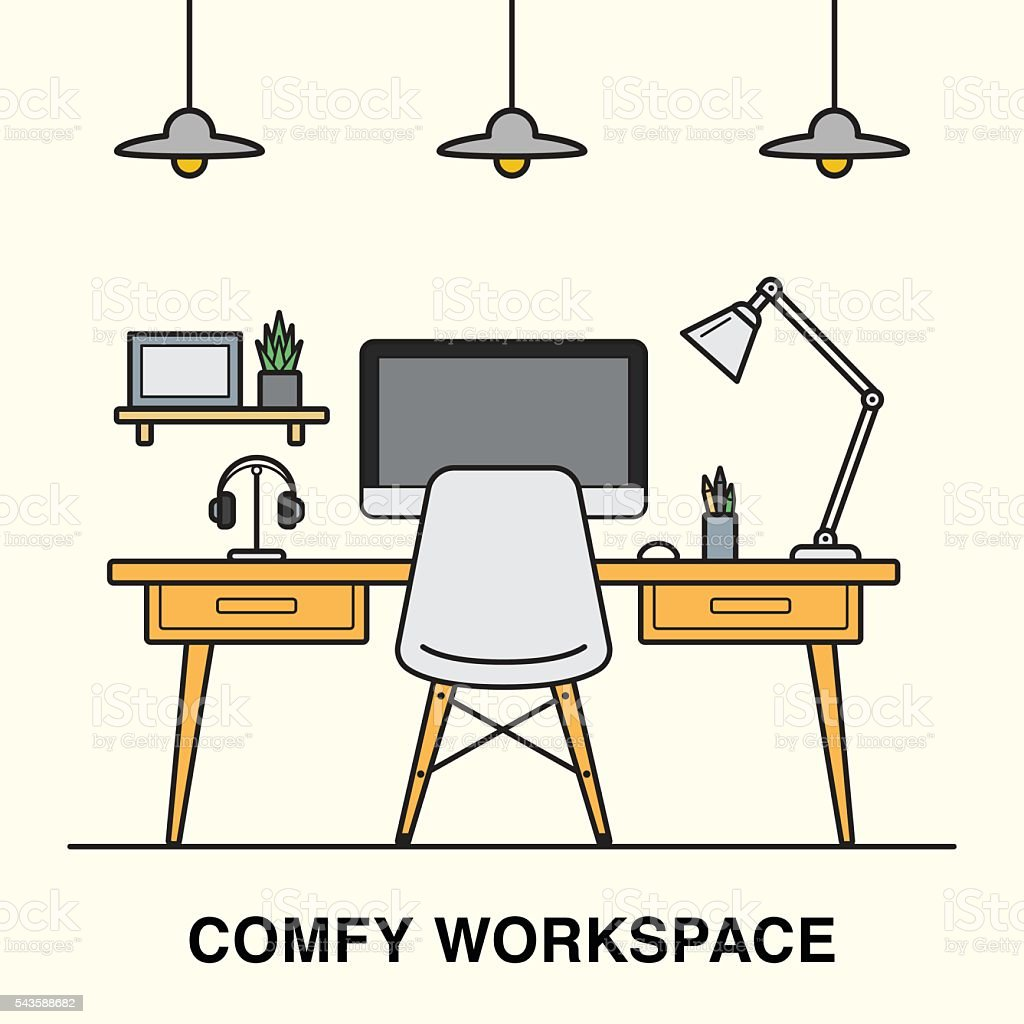 Workspace interior made in line art style. vector art illustration