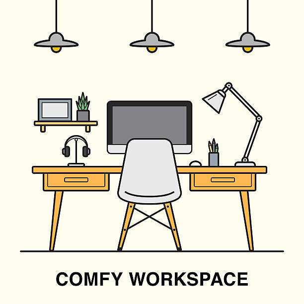 workspace interior made in line art style. - telecommuting stock illustrations, clip art, cartoons, & icons