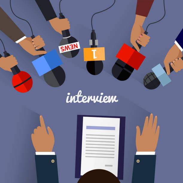 illustrations, cliparts, dessins animés et icônes de espace de travail de design plat entretien - interview
