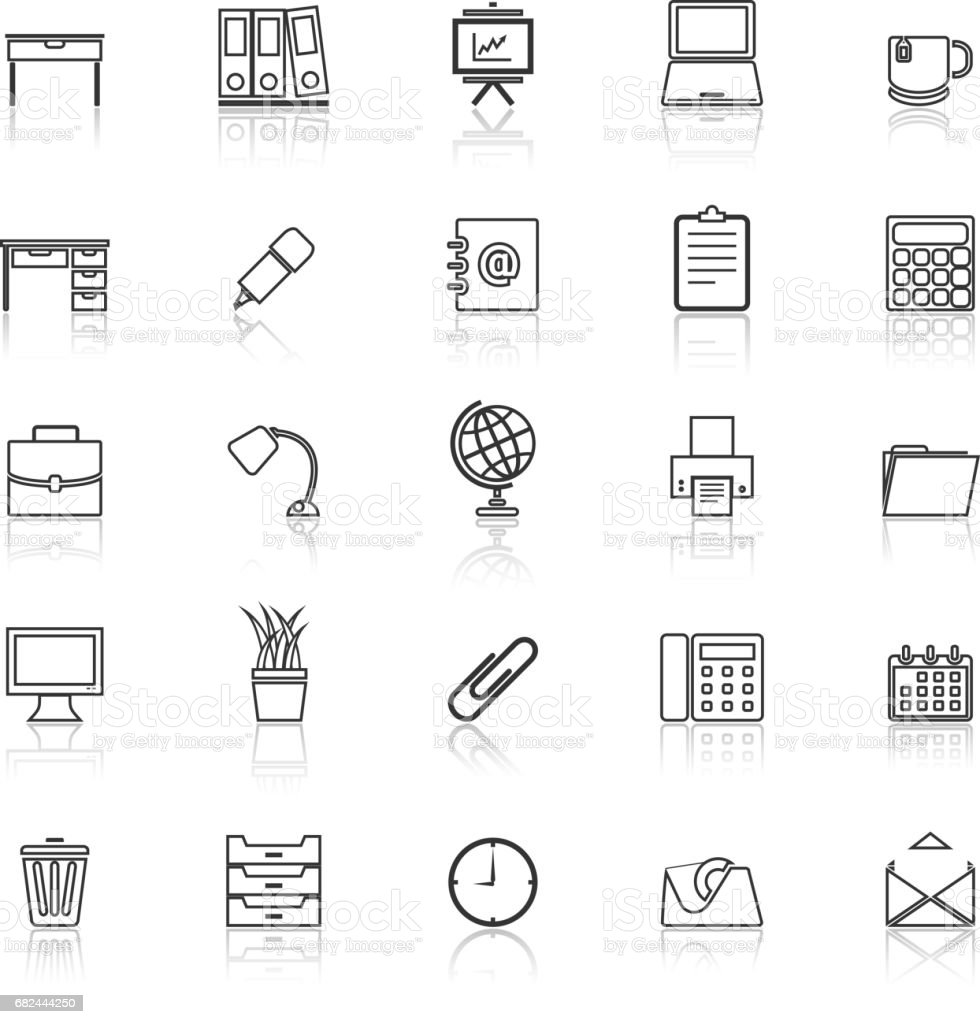 Workspace line icons with reflect on white background royalty-free workspace line icons with reflect on white background stock vector art & more images of adult