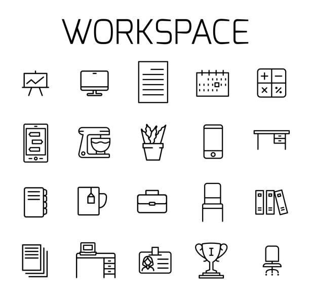 bildbanksillustrationer, clip art samt tecknat material och ikoner med arbetsytan med vector ikonuppsättning. - arbeta köksbord man