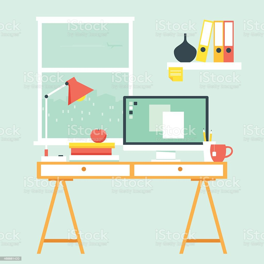Workspace with computer desk vector art illustration