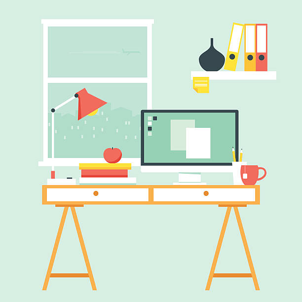 workspace with computer desk - working from home stock illustrations