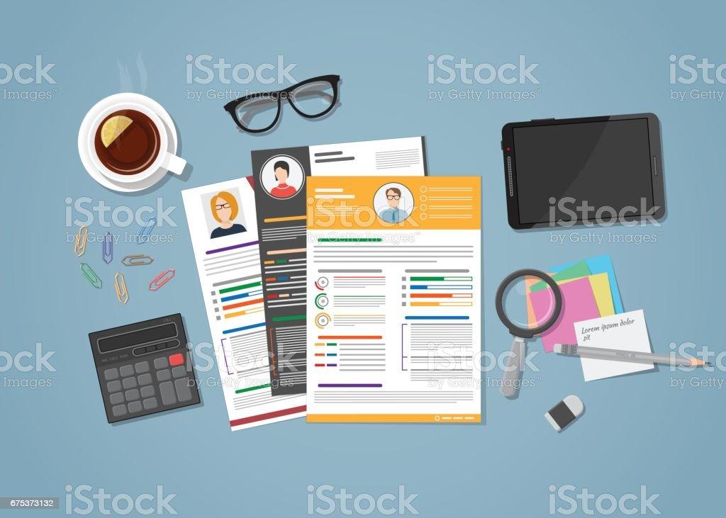espace de travail cv avec objets vecteurs libres de droits