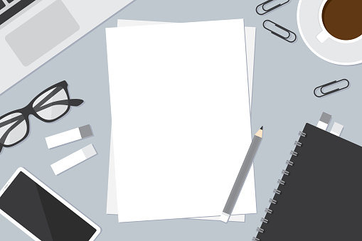 Workspace with office supplies including empty sheet paper, notebook, laptop computer, smartphone and stationery. Business concept. Flat design vector illustration.