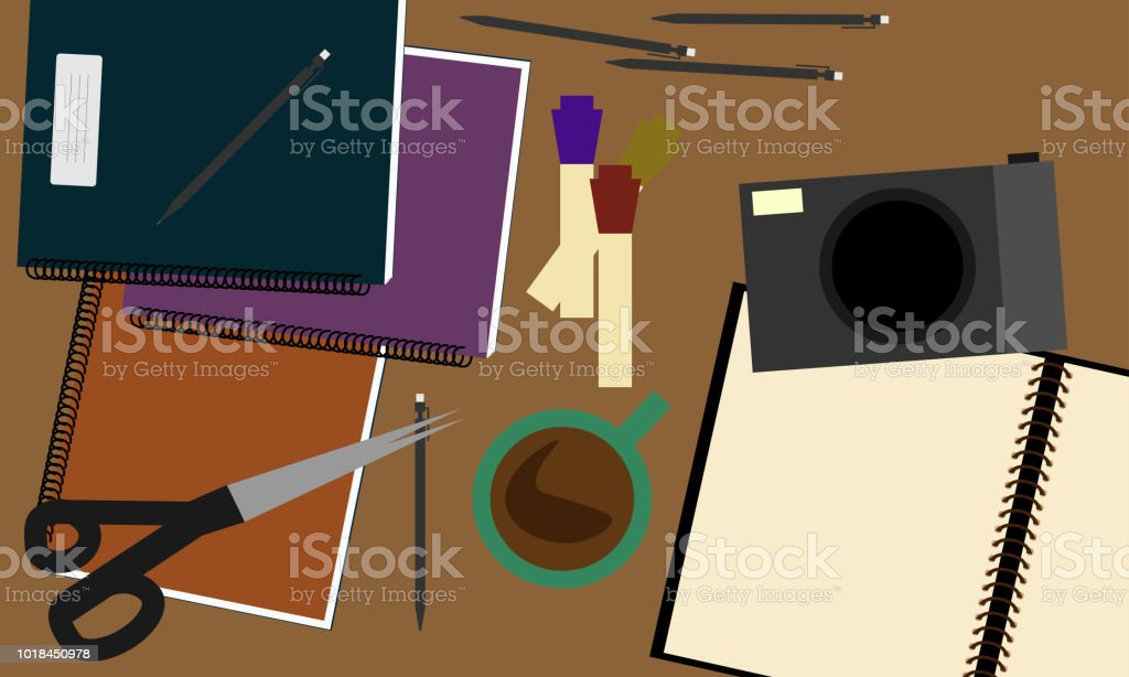 Workspace with retro camera, scissors, diary, coffee and pen. vector art illustration
