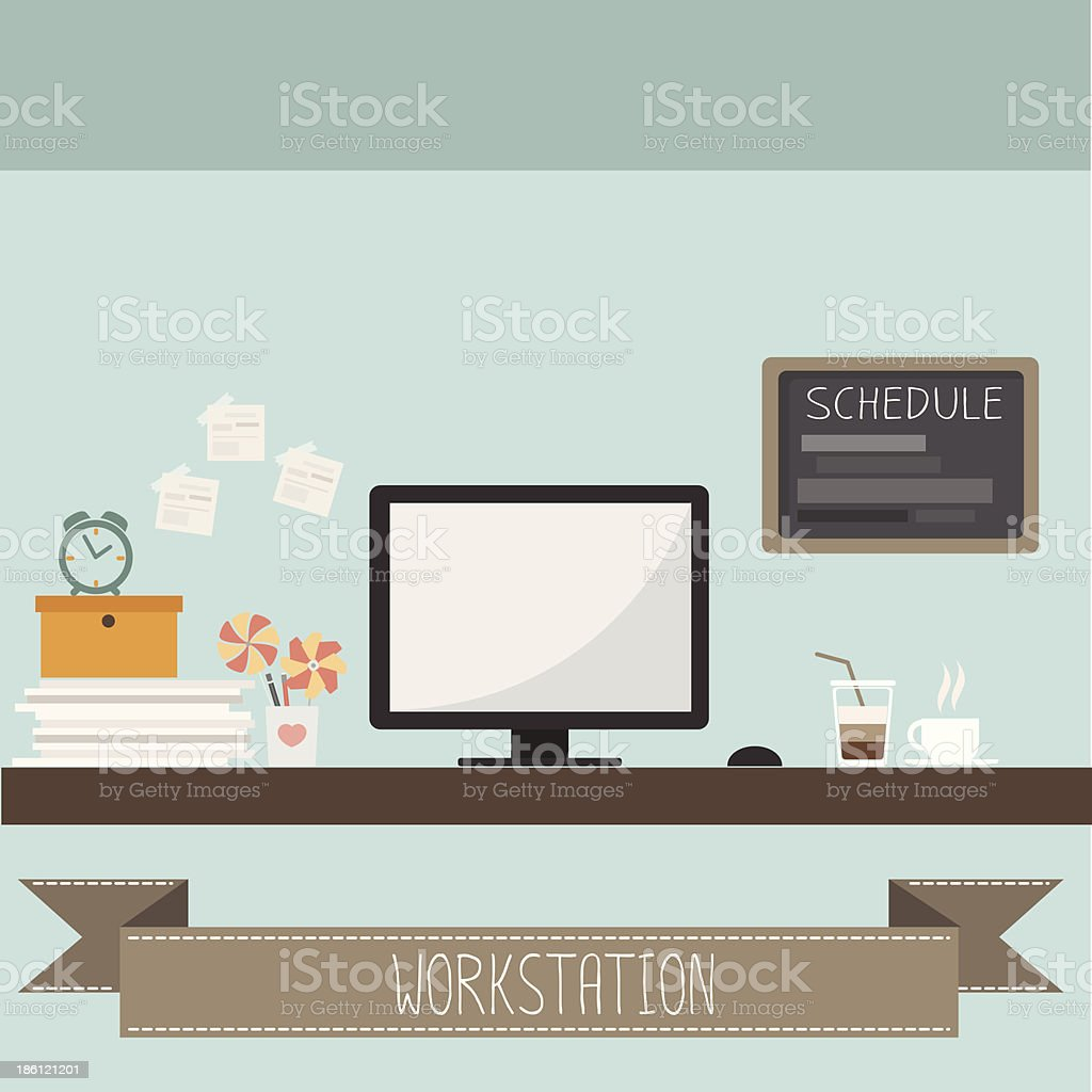 workstation vector art illustration
