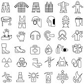 Single color isolated outline icons of safety and health workwear and equipment