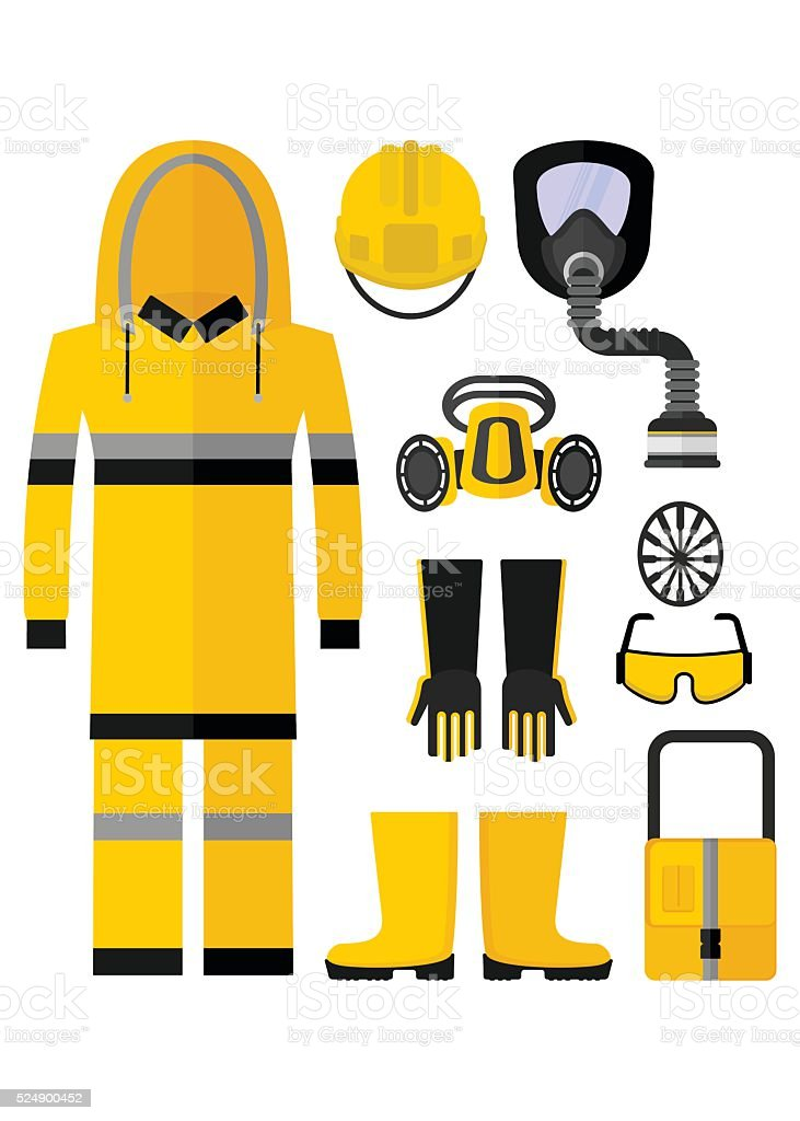 workwear chemical protection suit vector art illustration
