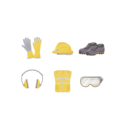 Workwear, personal protective equipment flat color vector objects set
