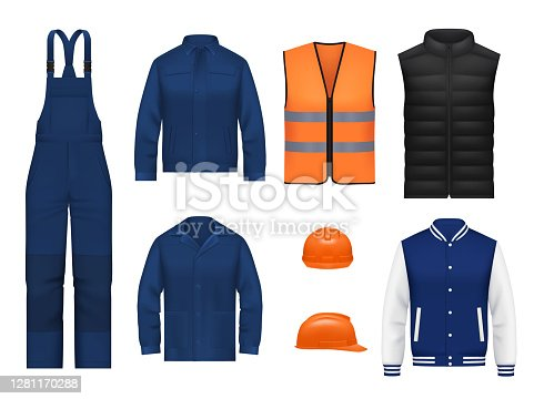 istock Workwear uniform and worker clothesg, realistic 1281170288