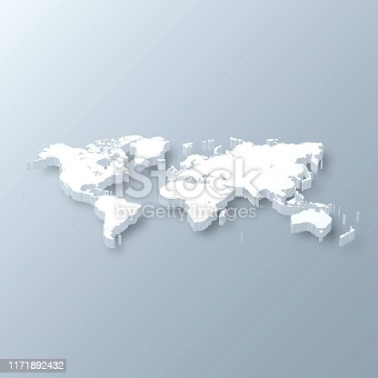 3D map of World isolated on a blank and gray background, with a dropshadow. Vector Illustration (EPS10, well layered and grouped). Easy to edit, manipulate, resize or colorize.