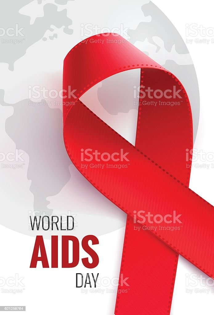 World aids day - 1 December. Aids awareness background vector art illustration
