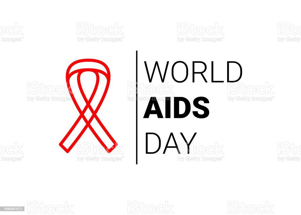 World AIDS Day 1 December. red hiv ribbon awareness. Vector vector art illustration