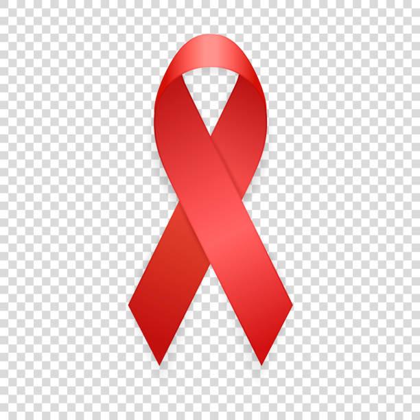 dünya aids günü - 1 aralık. gerçekçi kırmızı kurdele şablon closeup saydamlık ızgara arka plan üzerinde izole. aids bilinçlendirme kavramı. eps10 illüstrasyon vektör - aids stock illustrations