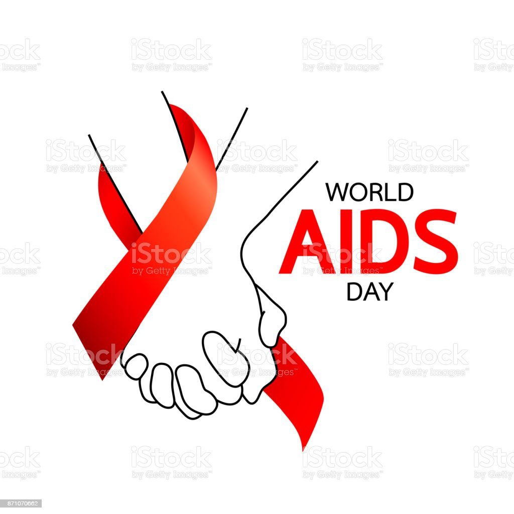 World AIDS Day. Holding hands with Red ribbon. vector art illustration