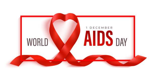 kırmızı kurdele ve çerçeve ile dünya aids günü yatay afiş - aids stock illustrations