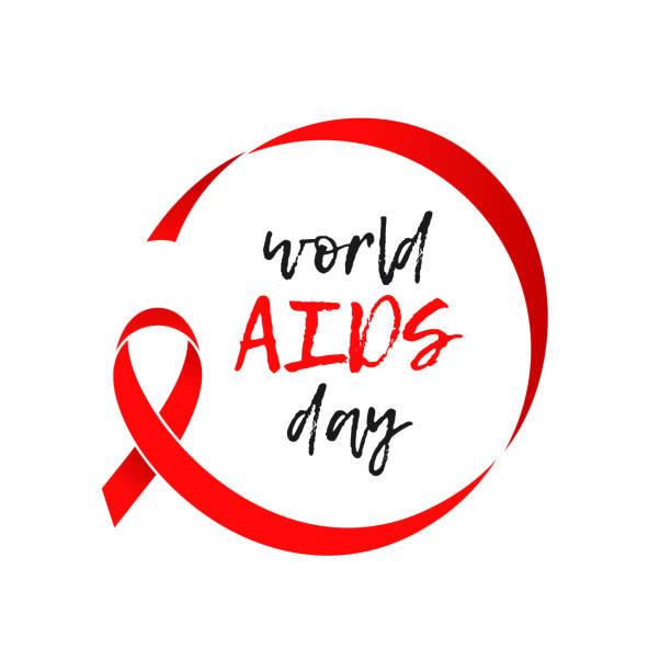 dünya aids günü kırmızı kurdele 1 aralık farkındalık dayanışma simge vektör poster - aids stock illustrations